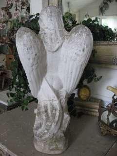 SO SWEET Old Vintage Garden Cement WINGED ANGEL CHERUB STATUE Chippy