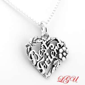 SILVER BEST FRIEND CHARM WITH 18 BOX CHAIN NECKLACE