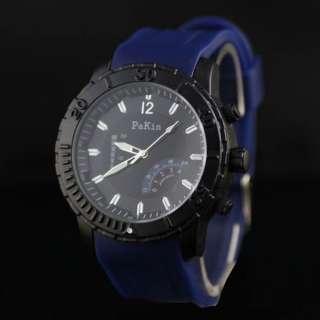 Dark Blue Rubber Trendy Big Dial Sport Men Boy Watch