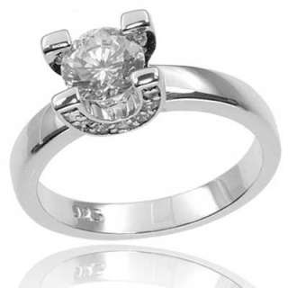 Round Cut CZ Cubic Zirconia Solitaire 925 Sterling Silver Womens