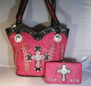 Pink Rhinestone Cross Western Boot Stitched Cowgirl Handbag Purse Tote