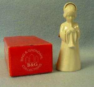 NIB BING & GRONDAHL ANGEL WITH HORN 24K GOLD TRIM