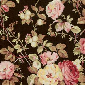 Pandolph St Remy Provence Pink Black Yellow Floral Rose Quilt Fabric