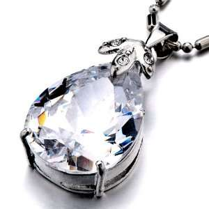 Pugster Clear White Crystal Drop Pendant Necklace Pugster Jewelry