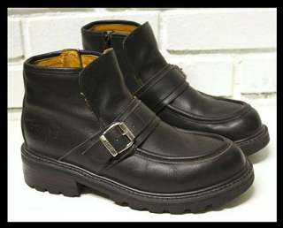 Engineer Biker Motorcycle Leather Ankle Work Black Boots Size 8.5 D
