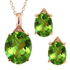 82 Ct Oval Envy Green Mystic Quartz 18k Rose Gold Pendant Earrings