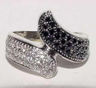 18K White Gold By Pass Anniversary Ring White Black Diamond Size 7.75