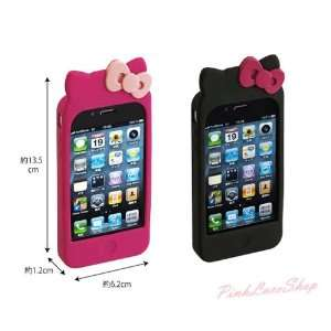 Cute Hello Kitty Double Bow Soft Silicone Case for iPhone
