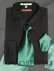 Mens Black Shirt & Teal Green Tie 17.5 36/37 XL