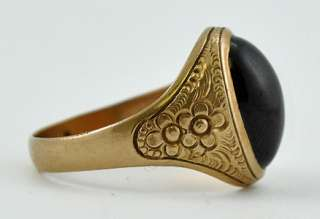 Lovely Antique 10K Yellow Gold & Garnet Ring Size 8 3/4