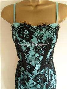 Karen Millen Black Teal Lace Silk Corset Dress Sz 8 14