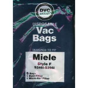 DVC Brand Type F Paper Bag 5 Pack & 2 Filters to fit Miele