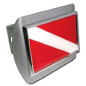 Dive Flag Brushed Silver with Chrome Diver Down Emblem