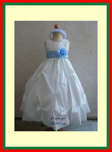 NEW IVORY BABY BLUE BRIDESMAID FLOWER GIRL PARTY DRESS