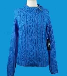 NEW Ralph Lauren Ladies Blue Zip Collar Cable Knit Sweater L