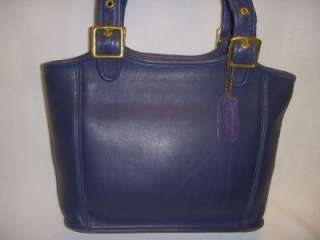 COACH 9086 NAVY BLUE LEATHER LEGACY HIPPIE BUCKET TOTE PURSE