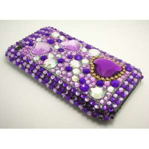 iPhone 3G 3GS Purple Heart Crystal Rhinestone Bling Bling Back Case