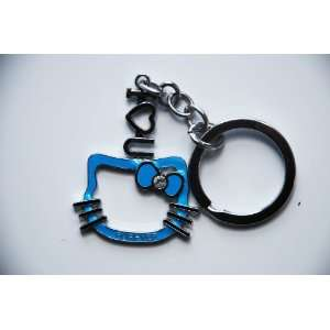 Blue I Love You Forever Hello Kitty Face Keychain