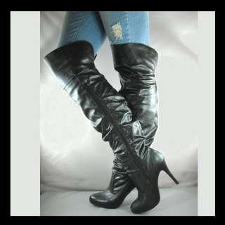 NEW BLACK OVER KNEE HIGH HEEL WOMENS BOOTS