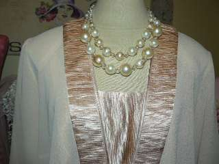 ETHEL & MYRTLE Romantic GLAMOROUS CHAMPAGNE PEARL CRYSTAL NECKLACE