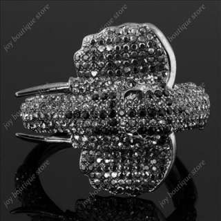 Black swarovski crystal animal elephant bracelets