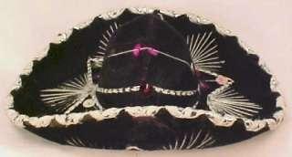 Great BLACK VELVET SOMBRERO HAT for DOLL Beauty