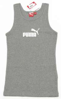 PUMA Womens Gray & White #1 Tank Top Shirt NWT