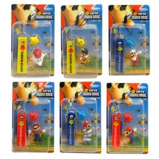 6pcs Super Mario Mini Figure Cell Phone Strap Set
