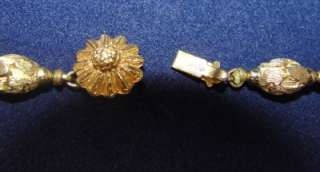 Vtg Art Deco Cobalt Blue Venetian Copper Foil Bohemian Glass Bead Gold