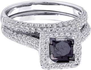 Ladies 1.25 carat Black & White Diamond Bridal Set Ring 14K White Gold