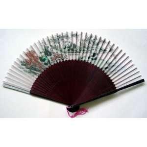 Chinese Painting Silk Bamboo Art Fan Panda Everything
