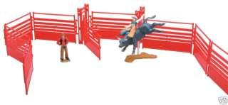 New Ray Toy Rodeo Buckin Bull Cowboy Rider Set
