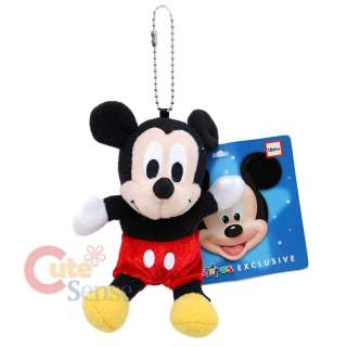 Disney Mickey Mouse 5 Mini Plush Doll Key Chain /Cell Phone Charm