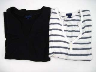 LOT 2 LILLA P Black White Striped Shirts Tops Sz M/L