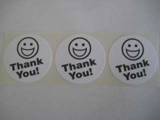 250 BIG THANK YOU SMILEY LABEL STICKERS white