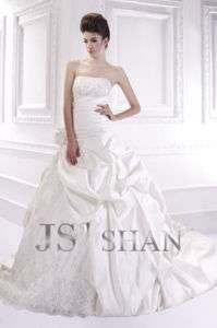 Embroidery Strapless Train Bridal Gown Wedding Dress,US4 UK8