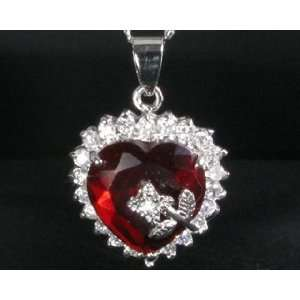 Fashion GIFT Jewelry WITH FREE Necklace Heart Cut Red Ruby