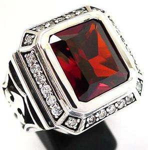 BIG KNIGHT TEMPLAR CROSS RING Sz 14 RED RUBY DIAMOND STERLING 925