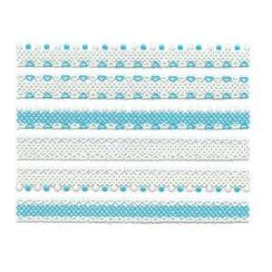 Glitter Blue & White Heart/Dot Lace Trim Strip Nail Stickers/Decals