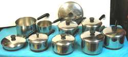 POTS & PANS W/LIDS LARGE LOT STAINLESS STEEL & COPPER BOTTOM