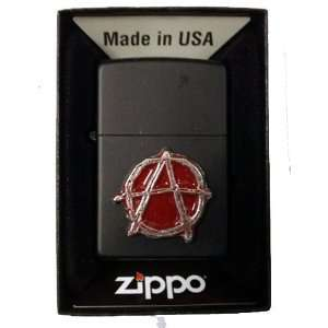 Zippo Custom Lighter   Anarchy Emblem Logo Symbols Black