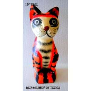 Orange Tabby Cat Statue Figurine Artsy Kitty Feline Tiger