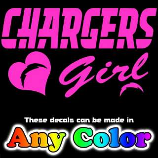 Chargers Girl w/heart logo Pink Metallic Auto Car Window Sticker Decal