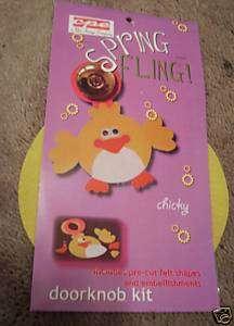 Lot of 4 Spring Fling Chicky Door Knob Craft Kit NIP