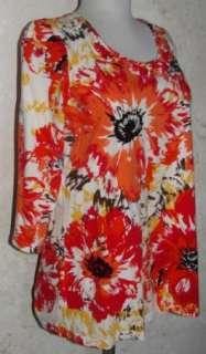 & BANKS SZ XL Bright Red & Orange Splash Stretch Graphic Print Shirt