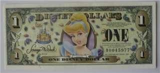 2005 $1 Disney Dollar 2005 CINDERELLA $1 DISNEYLAND DOLLARS
