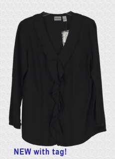 NWT CHICOS Ruffle Carrick Silk Blend Black Long sleeve Shirt Top 1, S