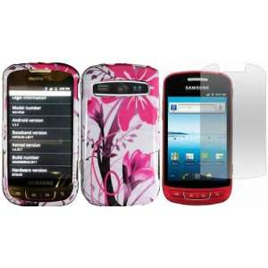 Pink Splash Hard Case Cover+LCD Screen Protector for Samsung Admire