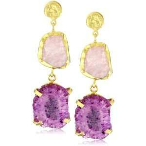 Zariin Duo Stone Spirited Pink Druzies Gold Earrings