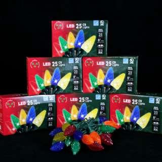 C9 Multi Colored LED Christmas Lights   25 bulbs, 4 spacing, 8 long